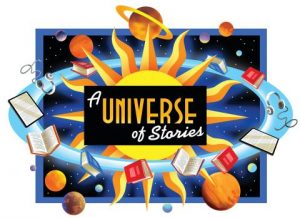 A universe of stories summer reading logo with books and planets orbiting a sun with the logo on it.